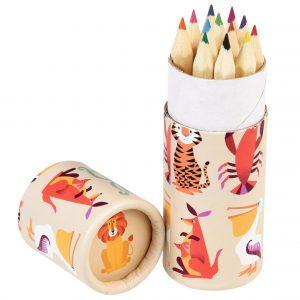Bote lápices de colores con animales